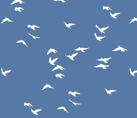 Birds French Blue fabric by bunni on Spoonflower - custom fabric