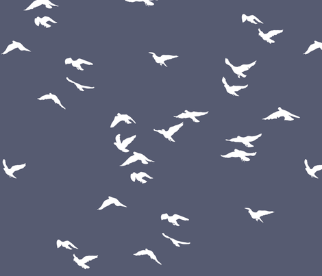 Birds Slate Grey fabric by bunni on Spoonflower - custom fabric