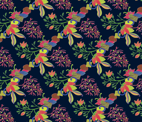 Flowers on Dark Ground fabric by eva_the_hun on Spoonflower - custom fabric