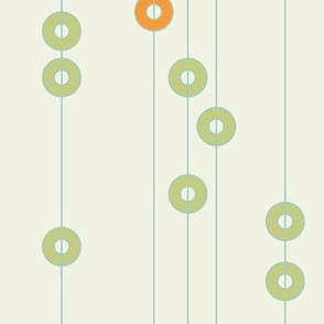 Green and Orange Rings On Strings