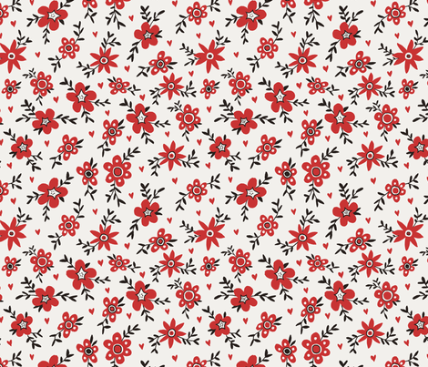 50's Inspired Floral fabric by smalltalk on Spoonflower - custom fabric