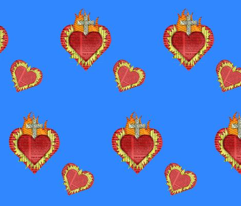 bluesacredhearts fabric by nightgarden on Spoonflower - custom fabric