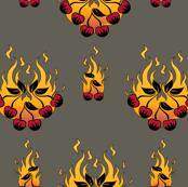 Flaming Cherry Tattoo Large - B