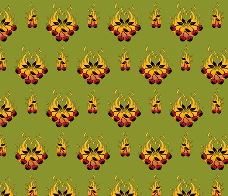 Flaming Cherry Tattoo Large - C fabric by voodoorabbit on Spoonflower - custom fabric