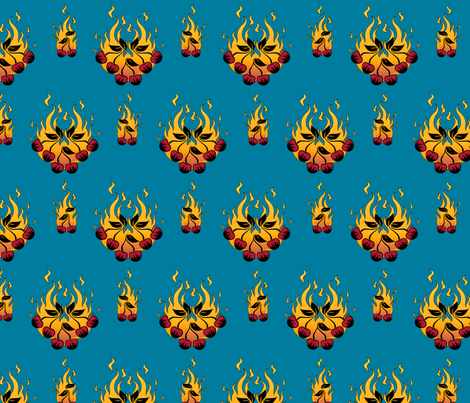 Flaming Cherry Tattoo Large - D fabric by voodoorabbit on Spoonflower - custom fabric