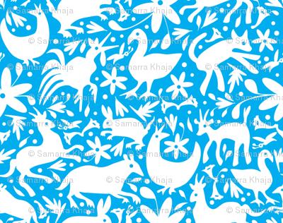 Mexico Springtime: White on Turquoise (Small Scale)