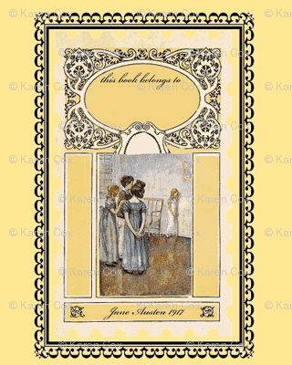 Jane Austen bookplates Yellow
