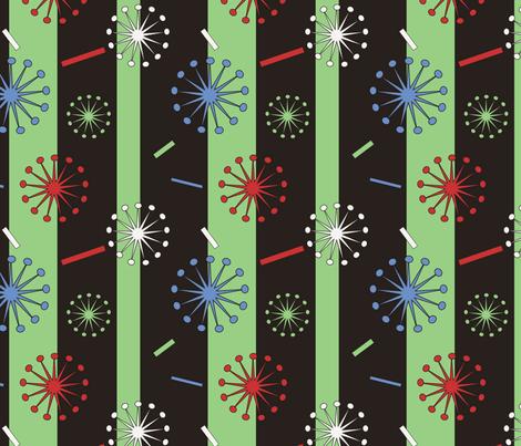 Retro Confetti Bursts (Black/Green) fabric by pantsmonkey on Spoonflower - custom fabric