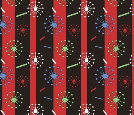 Retro Confetti Bursts (Black/Red) fabric by pantsmonkey on Spoonflower - custom fabric