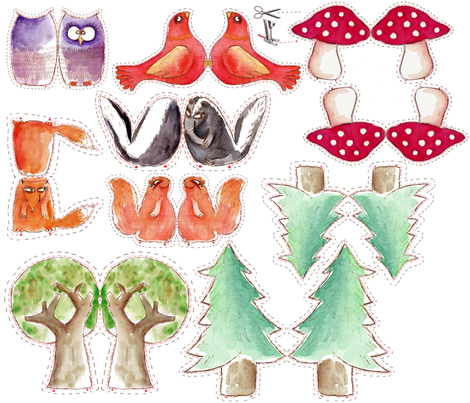 les amis de la foret fabric by nadja_petremand on Spoonflower - custom fabric