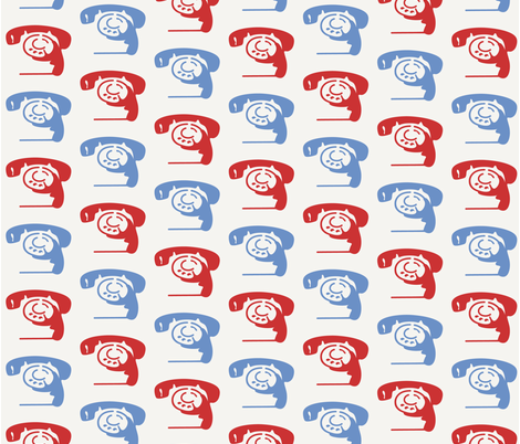 fifties-phone-koliori fabric by koliori on Spoonflower - custom fabric