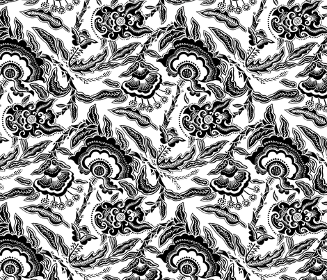 Indonesian Flower b&w fabric by eva_the_hun on Spoonflower - custom fabric