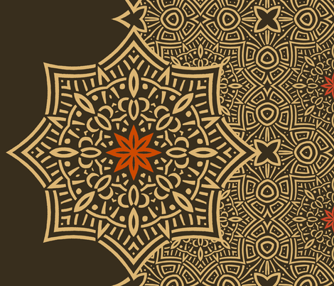 pattern_sepia_celtic_flower_accent fabric by lilichi on Spoonflower - custom fabric