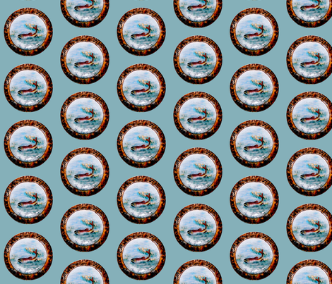 Water lilies and trout fabric by paragonstudios on Spoonflower - custom fabric