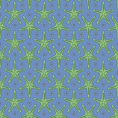 Splash of Starfish blue fabric by inscribed_here on Spoonflower - custom fabric