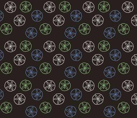 Sea Gift - Sand Dollars black fabric by inscribed_here on Spoonflower - custom fabric