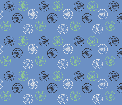Sea Gift - Sand Dollars blue fabric by inscribed_here on Spoonflower - custom fabric