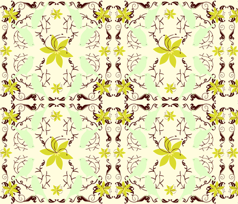 MorningSong Green Floral fabric by cksstudio80 on Spoonflower - custom fabric