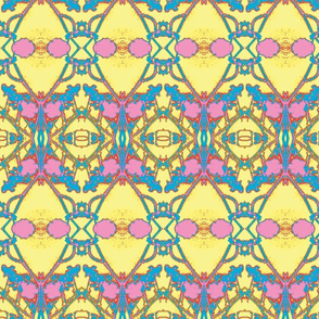 Mirrored Floral-Cream,pink, blue