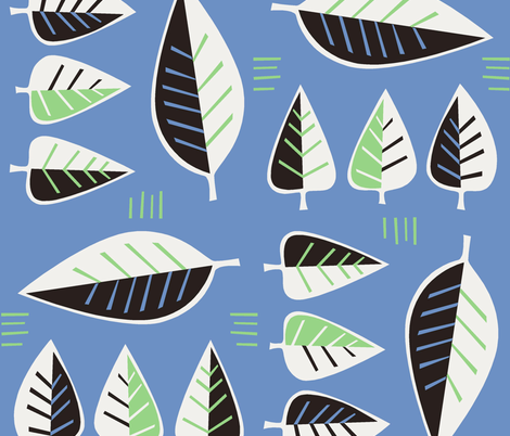 50_leaves_blue fabric by antoniamanda on Spoonflower - custom fabric