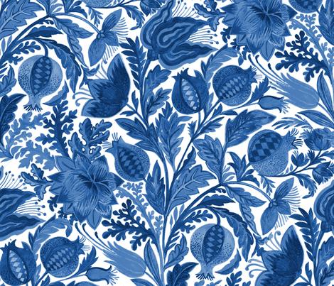 Indigo Flowers fabric by eva_the_hun on Spoonflower - custom fabric