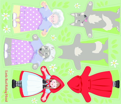 RED_RIDING_HOOD_puppets pattern fabric by daniellehanson on Spoonflower - custom fabric