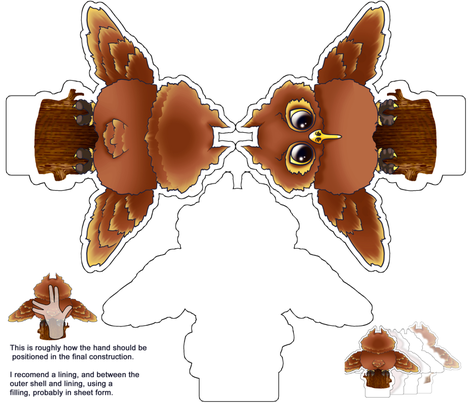 Hooter Hand Puppet fabric by jadegordon on Spoonflower - custom fabric