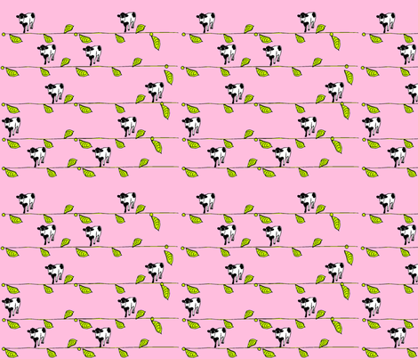 Pink Cow Plant fabric by cht222 on Spoonflower - custom fabric