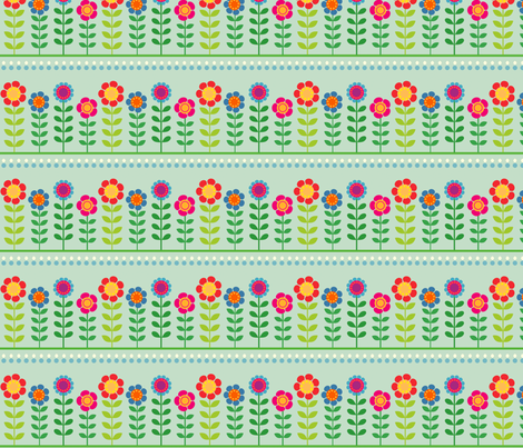 flowers in a row fabric by fhiona on Spoonflower - custom fabric