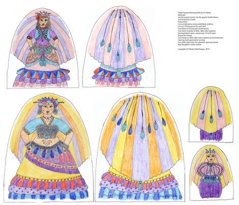 Tribal Belly Dancer Nesting Puppets fabric by plaiddragon on Spoonflower - custom fabric