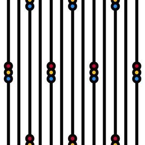 Triple Circle Stripes on White