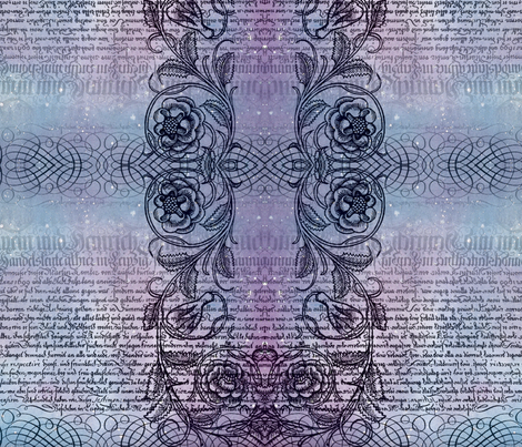 Just the text, scrollwork, and roses fabric by jenithea on Spoonflower - custom fabric