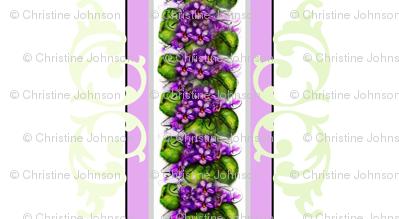 Violets and Brocade Stripe