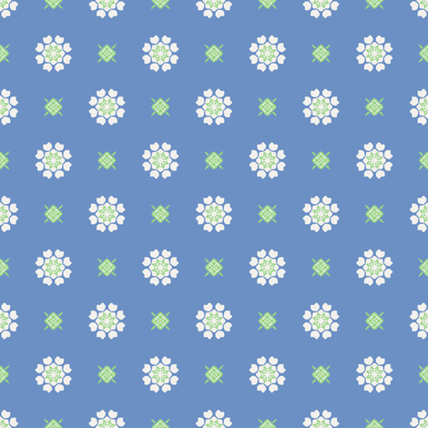 Anemone of my Anemone white on blue fabric by inscribed_here on Spoonflower - custom fabric
