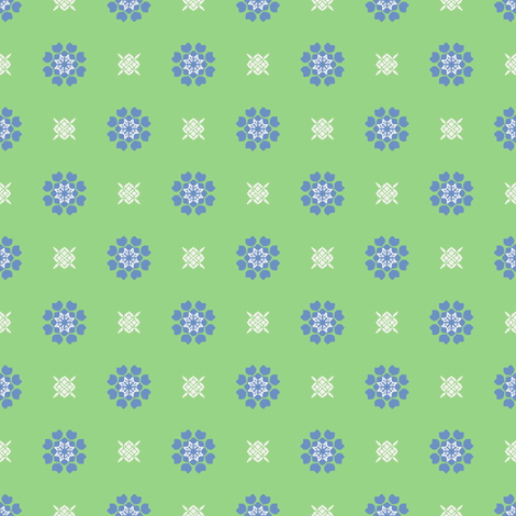 Anemone of my Anemone blue on green fabric by inscribed_here on Spoonflower - custom fabric