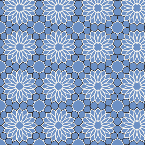 Rock Daisies blue fabric by inscribed_here on Spoonflower - custom fabric