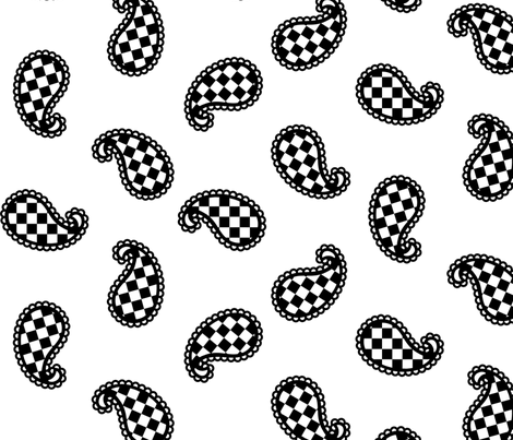 Paisley Check on White - Large fabric by siya on Spoonflower - custom fabric
