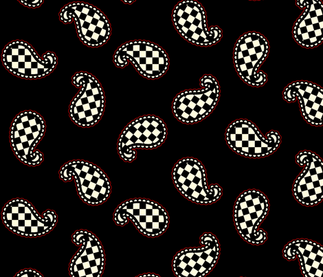 Paisley Check on Black - Large with Red fabric by siya on Spoonflower - custom fabric