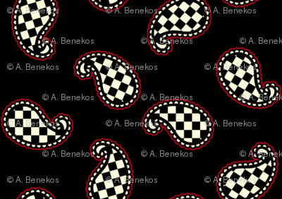 Paisley Check on Black - Small with Red