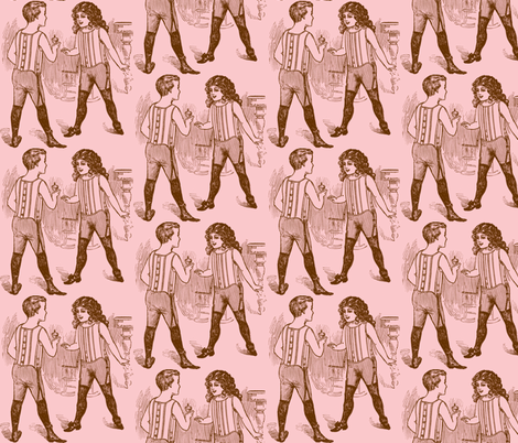 Wrestlers, Pink fabric by nalo_hopkinson on Spoonflower - custom fabric