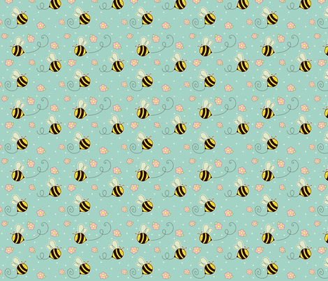 Bumbley Bees fabric by sugarcookie on Spoonflower - custom fabric