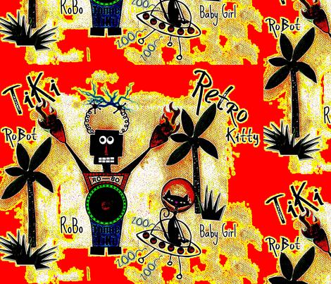 RoBoTiKi /Retro Kitty / Bamboo fabric by paragonstudios on Spoonflower - custom fabric