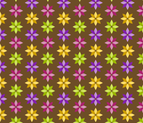 Flowers - Four Colors on Brown fabric by siya on Spoonflower - custom fabric