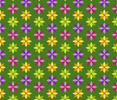 Flowers - Four Colors on Green fabric by siya on Spoonflower - custom fabric
