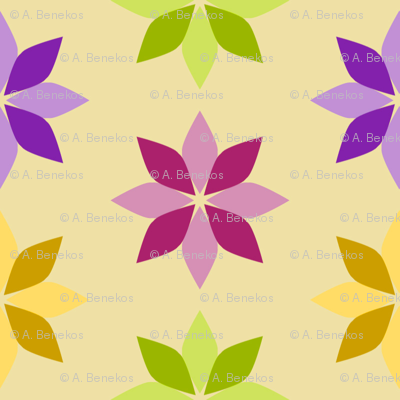 Flowers - Four Colors on Cream