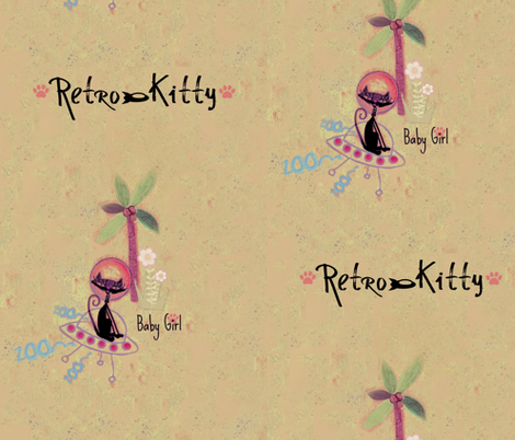Retro Kitty / Pale fabric by paragonstudios on Spoonflower - custom fabric