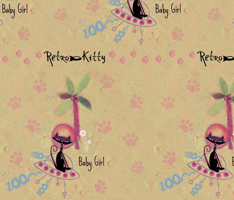 Retro Kitty / Paws fabric by paragonstudios on Spoonflower - custom fabric