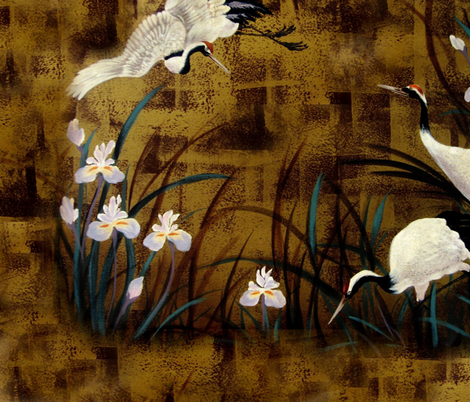 Orchids and cranes / Shams fabric by paragonstudios on Spoonflower - custom fabric