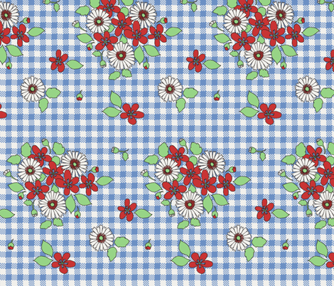 50s_flowers_on_blue_gingham fabric by victorialasher on Spoonflower - custom fabric