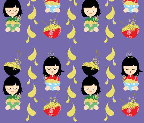 Noodle Bowls Yum fabric by kiwicuties on Spoonflower - custom fabric
